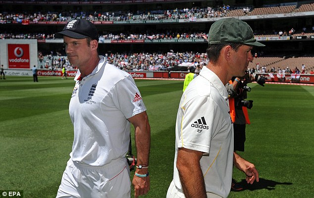 To the victor, the spoils: England captain Andrew Stauss and Australian captain Ricky Ponting pass each other after England's win over Australia