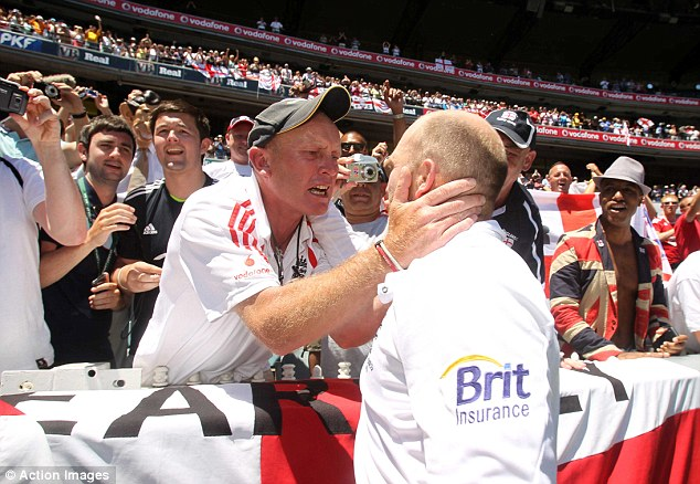 England's Matt Prior celebrates with fans after retaining the Ashes