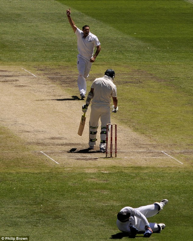 History: Bresnan celebrates as Prior takes the all important wicket of Hilfenhaus