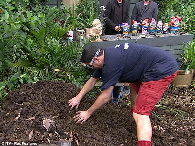 It's a smelly job: Dom had to root around in a huge pile of dung to find a star