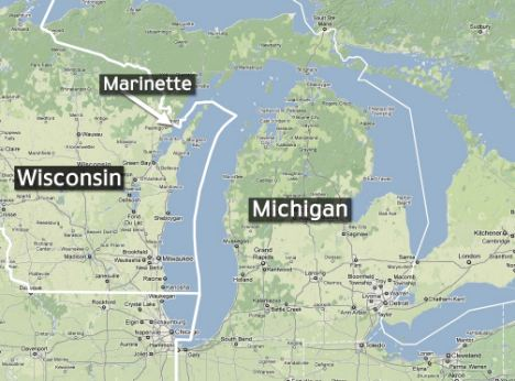 Map of Wisconsin and Michigan