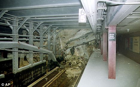 New York City subway No.1 and No.9 lines in the Cortland Street station under the World Trade Center after the 9/11 attacks