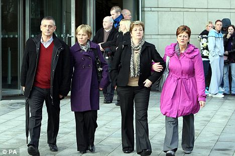 Bereaved: Relatives of Constable Trevor Buchanan, who was murdered by Colin Howell in 1991