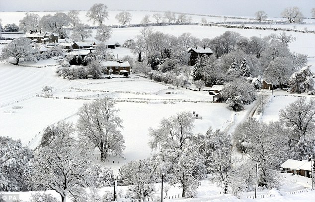 Feeling the chill: The village of Edlington near Alnwick, Northumberland