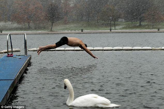 Bracing: A morning swim in the Serpentine Lido at Hyde Park
