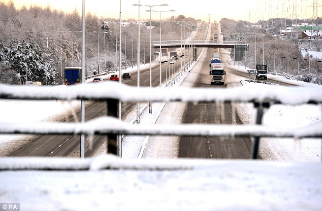 The A1 in Newcastle this morning, which was temporarily closed between Berwick and Edinburgh as heavy snowfall continued to cause travel chaos