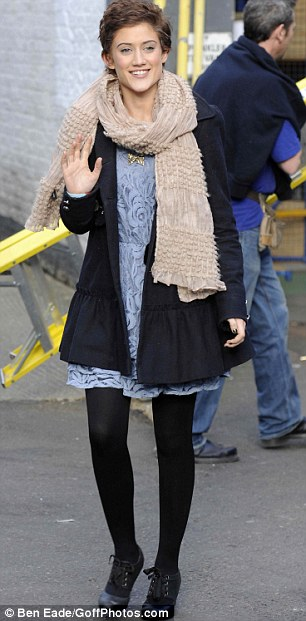 Songbird: Katie leaving the London Studios yesterday after her appearance on This Morning
