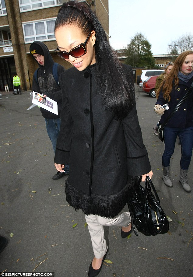 Chic: Rebecca Ferguson arrives to practise her next song having survived through to the semis