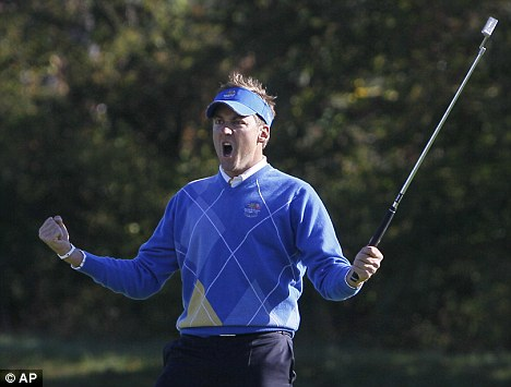 Fan favourite: Poulter was the toast of Europe during last month's Ryder Cup tournament at Celtic Manor Resort in Newport, Wales
