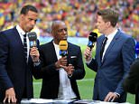 BT Sport presenter Jake Humphrey (R) with pundits Rio Ferdinand (L) and Ian Wright before the FA Cup Final at Wembley Stadium, London.   PRESS ASSOCIATION Photo. Picture date: Saturday May 30, 2015. See PA Story SOCCER FA Cup. Photo credit should read: Nick Potts/PA Wire. RESTRICTIONS: Editorial use only. Maximum 45 images during a match. No video emulation or promotion as 'live'. No use in games, competitions, merchandise, betting or single club/player services. No use with unofficial audio, video, data, fixture