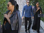 UK CLIENTS MUST CREDIT: AKM-GSI ONLY EXCLUSIVE: Naya Rivera and her husband Ryan Dorsey arrive for a dinner date at Il Cielo in Beverly Hills.  The 'Glee' actress, who announced her pregnancy in February, showed her baby bump beneath a black maxi dress and black leather jacket.  She accessorized with a matching black envelope clutch, necklace and aviator sunglasses.  Pictured: Naya Rivera and Ryan Dorsey Ref: SPL1077950  120715   EXCLUSIVE Picture by: AKM-GSI / Splash News
