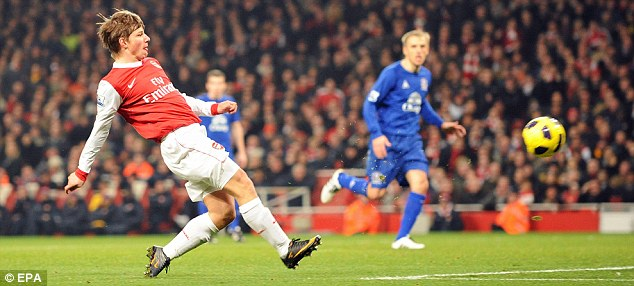 Russian class: Andrey Arshavin showed great technique to equalise for Arsenal