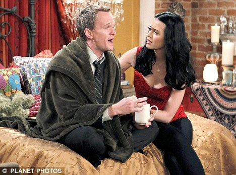 Hard at work: Harris recently filmed scenes for How I Met Your Mother with guest star Katy Perry