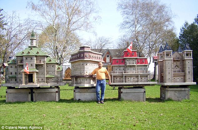 The massive bird houses come complete with fly-by tunnels and majestic Victorian architecture