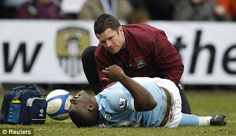 Scare: Richards worried City when he went down against Notts County on Sunday