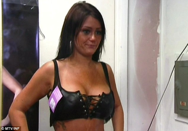 Putting the 'wow' in J-Woww: Jennifer 'J-Woww' Farely slipped into bondage style bra on last night Jersey Shore as the girls visited a sex shop