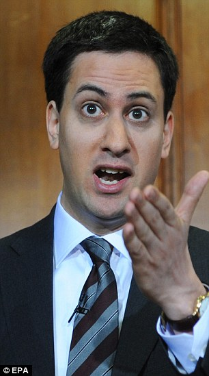 Ed Miliband during his monthly press conference in London yesterday