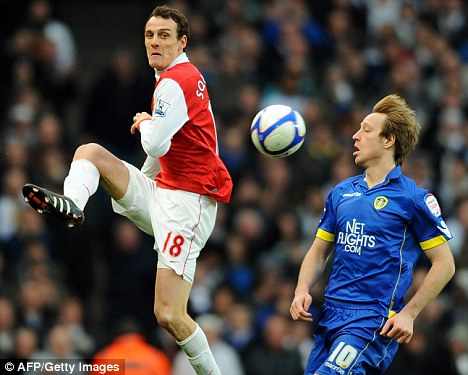 On the sidelines: Squillaci could be out of action for three weeks