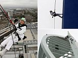 """101-year-old Doris Long as she abseils down the Spinnaker Tower in Portsmouth, Hampshire. PRESS ASSOCIATION Photo. Picture date: Sunday July 12, 2015. Ms Long has said she felt no fear as she broke her own world record for the oldest abseiler by descending 94 metres down the side of a viewing tower. Wind and rain did not deter the pensioner, who has been honoured with an MBE for her charity fundraising, as she abseiled down the Spinnaker Tower in Portsmouth, Hampshire. She last performed the feat on her 100th birthday in May 2014. Nicknamed Daring Doris, who has previously abseiled alongside new Top Gear host Chris Evans, took up the challenge once again to raise money for the Rowans Hospice in Waterlooville. Ms Long, who first abseiled at the age of 85, said: """"I don't feel afraid and never have, I just have a placid nature."""" The centenarian, who is 5ft tall and weighs eight stone, added: """"I have a look down at the crowd, I am normally looking to see how the other person is getting on"""