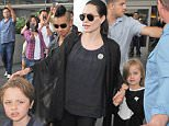 5.JULY.2015 - LOS ANGELES - USA BRAD PITT, ANGELINA JOLIE AND THE THEIR SIX CHILDREN ARRIVE BACK IN LOS ANGELES AFTER SPENDING TIME IN LONDON. THE ENTIRE FAMILY MADE THERE WAY THROUGH A SEA OF PEOPLE, AT ONE POINT BRAD BECAME PROTECTIVE OF HIS KIDS WHEN A PHOTOGRAPH GOT A LITTLE TO CLOSE FOR HIS LIKING.  BYLINE MUST READ : XPOSUREPHOTOS.COM *AVAILABLE FOR UK SALE ONLY* ***UK CLIENTS - PICTURES CONTAINING CHILDREN PLEASE PIXELATE FACE PRIOR TO PUBLICATION *** *UK CLIENTS MUST CALL PRIOR TO TV OR ONLINE USAGE PLEASE TELEPHONE 0208 344 2007*