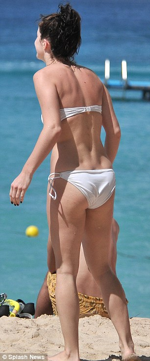 All white on the night: Former X Factor star Lucie Jones is currently enjoying a sunshine break in Barbados