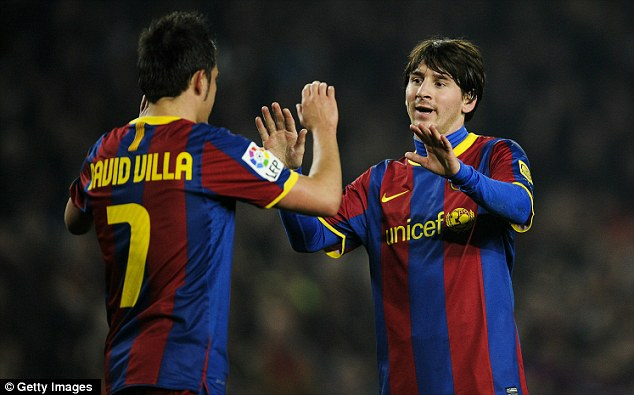 The dream duo: Arsenal must keep Villa (left) and Messi quiet if they want to beat Barca