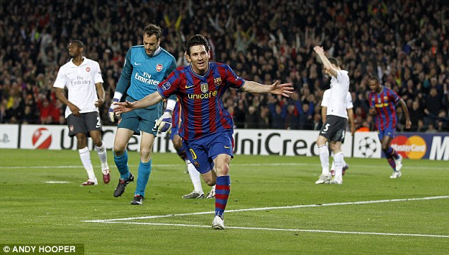 Taken to the cleaners: Messi scored four goals in the Nou Camp when the Gunners last face Barcelona