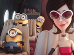 """In this image released by Universal Pictures, characters, from left, Stuart, Bob, Kevin and Scarlet Overkill, voiced by Sandra Bullock, appear in a scene from the animated feature, """"Minions."""" (Illumination Entertainment/Universal Pictures via AP)"""