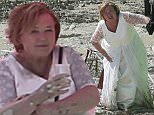 EXCLUSIVE: Pauline Quirke get into a sticky spot while filming for a new comedy Sky TV drama co staring Hollywood actor Rob Lowe.  The Tv Drama is called 'You Me and The Apocalypse' which is based on the different characters last days of mankind.  The Broadchurch and Emmerdale Actress was wearing a wedding dress and struggling to walk across the beach with her co actors.  The cast could be heard laughing in between filming as they got stuck in the mud which was in a quarry.  Pauline had to repeat the same scene for hours while the cameras and lighting rigs were moved in different positions on a hot day  - Oxfordshire\n\nPictured: Pauline Quirke\nRef: SPL1074846  100715   EXCLUSIVE\nPicture by: Ian Lawrence / Splash News\n\nSplash News and Pictures\nLos Angeles: 310-821-2666\nNew York: 212-619-2666\nLondon: 870-934-2666\nphotodesk@splashnews.com\n