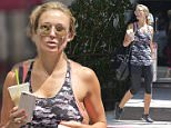 Steven Gerrard's wife, Alex Gerrard settles into LA life with a post-workout smoothie after a gym session in Beverly Hills.  Pictured: Alex Gerrard Ref: SPL1077769  130715   Picture by: Deano / Splash News  Splash News and Pictures Los Angeles: 310-821-2666 New York: 212-619-2666 London: 870-934-2666 photodesk@splashnews.com