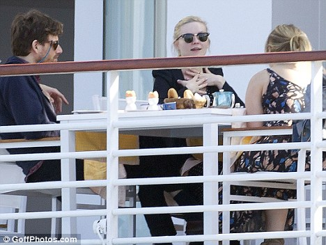 Brunch: Earlier in the day, Kirsten and Jason were spotted at the hotel's restaurant, which has so far been a favourite with celebrities, enjoying some time with friends