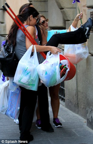 Homemakers: The Jersey Shore Girls arrive back at the townhouse with their supplies