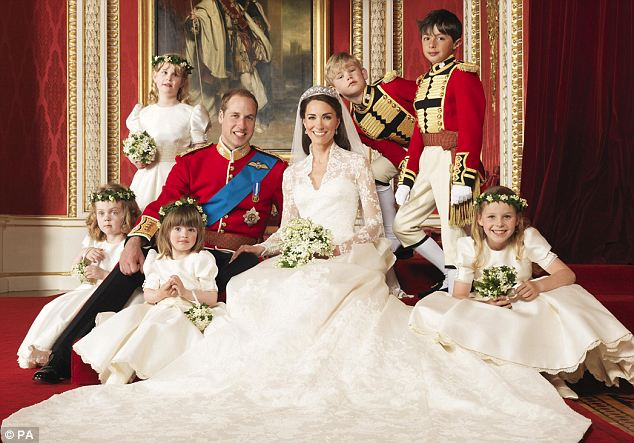 Lady Louise Windsor (standing to the left behind Prince William) in one of the official photographs from the Royal Wedding