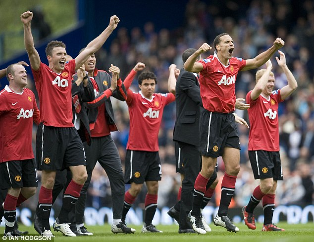 They've only gone and done it again: Manchester United celebrate their title success at Blackburn