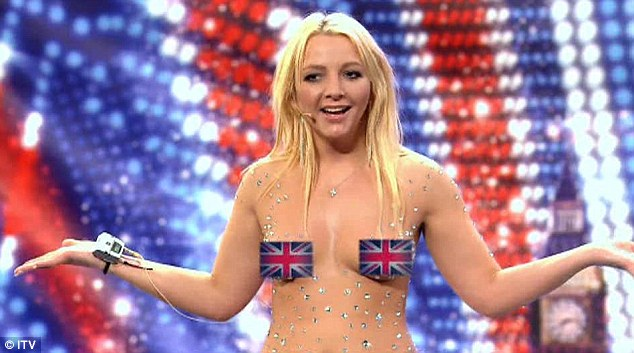 It's Lorna, b****: The UK's official Britney Spears lookalike Lorna Bliss starts her semi-naked tribute to her idol on Britain's Got Talent last night