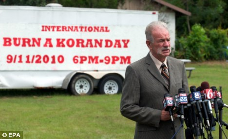 Provocative: Dove World Outreach Center church pastor Terry Jones speaks to the press about his planned Koran-burning session
