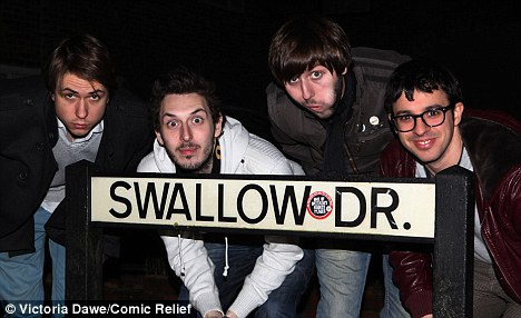Rude Road Trip: (L-R) Inbetweeners stars Joe Thomas, Blake Harrsion, James Buckley and Simon Bird stops off at Swallow Drive in Bristol on Tuesday night