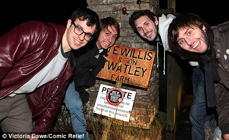 Late night antics: The foursome stopped by Twatley Farm in Malmesbury, Wiltshire
