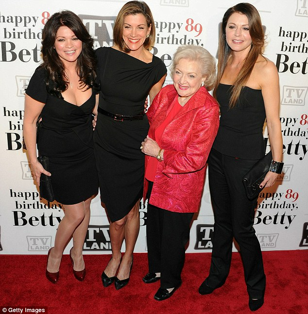 With the birthday girl: Jane posed for snaps with Betty White as well as fellow cast members Valerie Bertinelli (left) and Wendie Malick (centre)