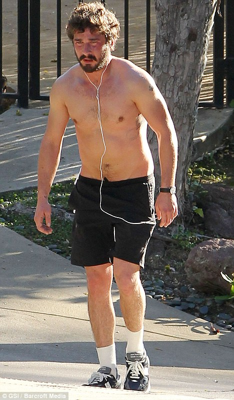 Hardly a heartthrob: Shia LaBeouf takes his shirt off and goes for a run in Los Angeles