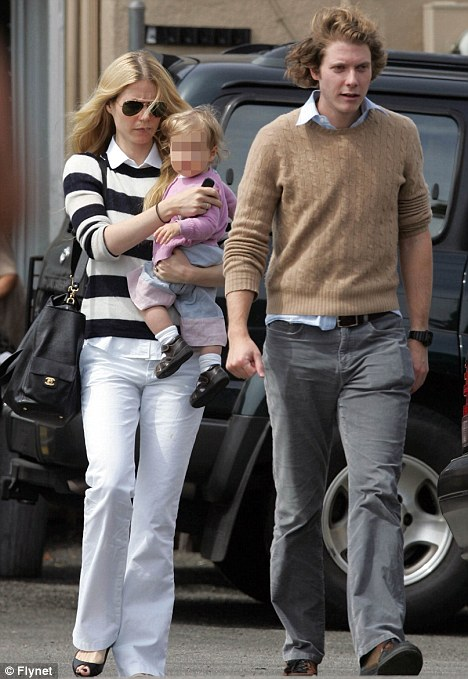 Family: Gwyneth with brother Jake and daughter Apple when she was a baby