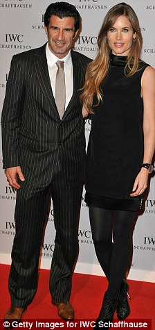 Sports stars: Zinedine Zidane and wife Veronique. left, as well as Luis Figo and partner Helen, also spent time at the Swiss watch launch