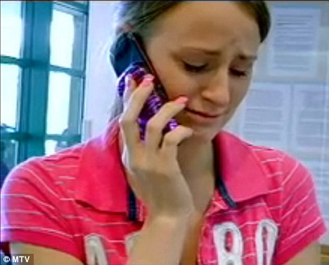 Devastated: Leah sobs as she calls Corey to tell him what the doctor has said