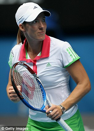 I've done it: Justine Henin celebrates beating Elena Baltacha