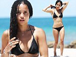140014, EXCLUSIVE: Zoe Kravitz rocks a black bikini and elaborate silver body jewelry as she hits the beach in Miami. The singer and actress showed off her incredible figure in a black bikini and silver body chains across her chest and legs as she cooled off in the ocean after relaxing on a sun lounger. The beauty then rehydrated with a fresh coconut. The 26 year old daughter of singer Lenny Kravitz is currently on a break from filming Allegiant.  Miami, Florida - Sunday July 12, 2015. Photograph: Brett Kaffee © Pacific Coast News. Los Angeles Office: +1 310.822.0419 sales@pacificcoastnews.com FEE MUST BE AGREED PRIOR TO USAGE