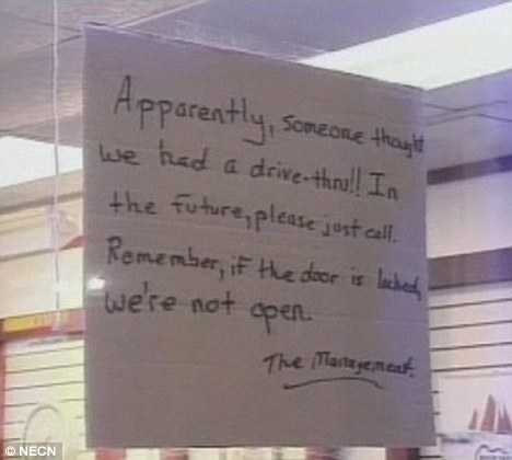 Warning: Staff post a sign in the liquor store window reminding customers they don't offer a drive-thru service