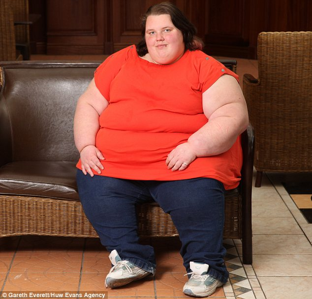 Georgia Davis, from Aberdare, when she weighed 34stone. She finds it difficult to face up to the reality of her size