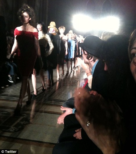 Supportive: Matt also cheered for his girlfriend at the Vivienne Westwood show that afternoon