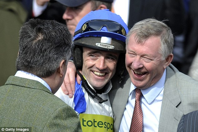Celebrations: Sir Alex enjoys success with his horse What A Friend and jockey Ruby Walsh at Aintree last year