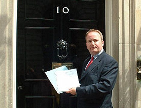 Handing in his notice?  Mark Pritchard outside 10 Downing Street